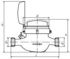 Счетчик воды универсальный с присоединителями, ВСКМ 90-40