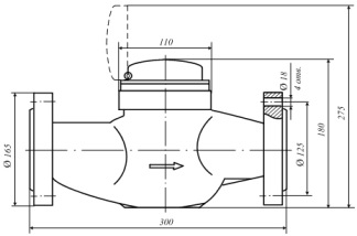 Счетчик воды универсальный с присоединителями, ВСКМ 90-50Ф
